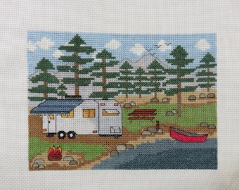 PDF PATTERN - Camping by the Lake with Trailer  - Counted Cross Stitch