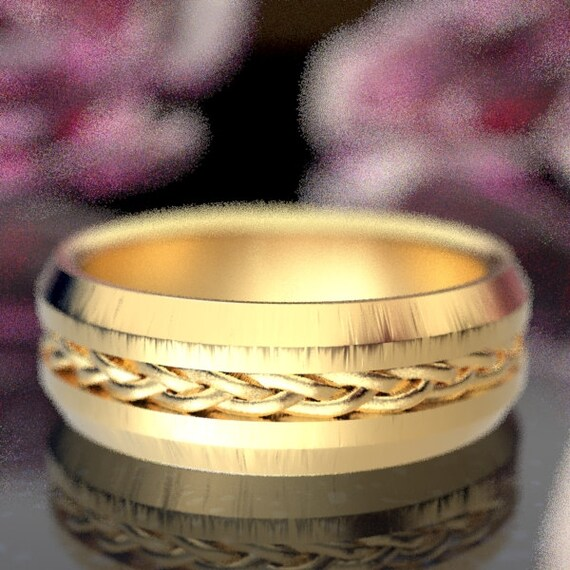 Celtic Wedding Ring with Thin Braid Pattern in 10K 14K 18K or Palladium, Made in Your Size CR-1062
