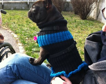 French Bulldog Sweater For Dogs Black-Blue Ruffled Dress-Knit-Handmade