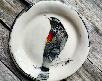 Black Bird Plate Dish - Made to Order