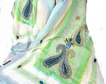 PASHMINA wool embroidered wool wool shawl scarf woman green ecru pk84