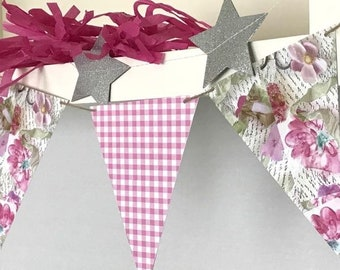 FLOWER PAPER GARLAND, Pink Floral Banner,Paper Bunting,  Antique Style Garland, Double-Sided Paper Bunting, Pressed Flower Style