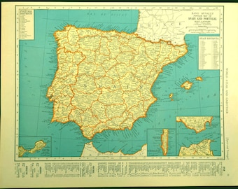 Spain Map Spain Vintage Portugal 1930s Original