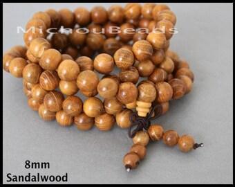 SAMPLE 5 Beads SANDALWOOD Mala Beads - 8mm Round Natural SATIN Golden Grade A Fragrant Prayer Yoga Meditation Beaded Stretch Necklace