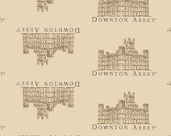 Beige Downton Abbey Small Portrait Fabric by Andover