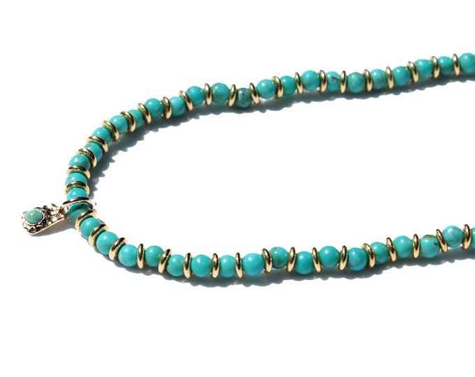 Turquoise and gold plated Choker