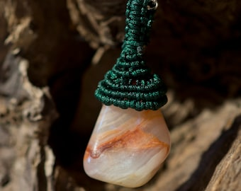 Orange macrame and chalcedony pendant