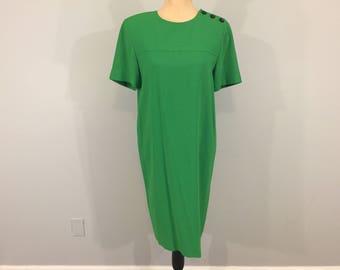Kelly Green Dress Shift Short Sleeve Day Dress Minimalist Midi Womens Dresses Loose Secretary Dress Size 6 Dress Small Womens Clothing
