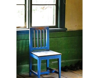 Fine Art Color Photography of Blue Chair by a Window in Finland