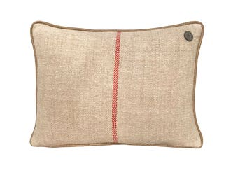 """German Vintage Burlap-Linen mix Pillow with leather piping  -  18 x 13"""""""