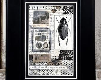 "Collage - ""Far Away"" * mixed media * OOAK * art * framed wall art * fine art * black and white"