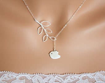 Customized Initial Bird and branch Lariat Y Necklace - STERLING SILVER, leaf necklace, bird jewelry, birthday, mother's day gift for her