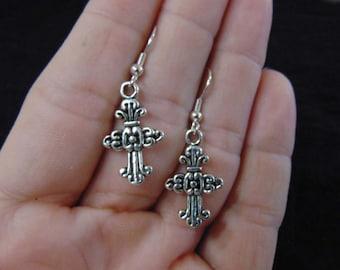 Silver Earrings, Silver Cross Earrings, Antiqued Silver Cross Earrings, Antiqued Silver Earrings