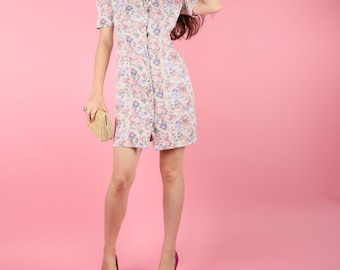 80s Dress // 80s Vintage Dress // Floral Dress Mini Dress Spring Summer Dress Size Extra Small XS