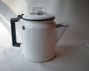 Vintage White and Black Enamel Perculating Coffee Pot