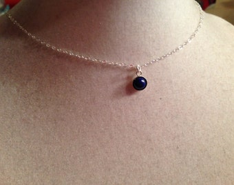 Lapis Necklace - Children's Necklace - Navy Blue Jewelry - Gemstone Jewelry - Sterling Silver Jewellery - Chain