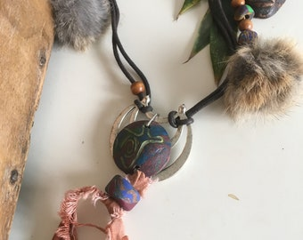 ethnic tribal polymer clay pendant necklace recycled fur