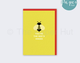 Quirky Greetings Card | Yellow | You're The Bee's Knees