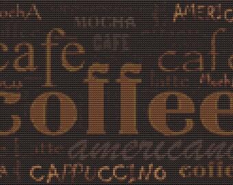 Coffee Cross Stitch Kit, Coffee Menu, Counted Cross Stitch, Embroidery Kit, Art Cross Stitch