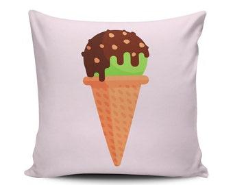 Pistachio Chocolate - Throw Pillow - Home Decoration, Couch, Sundae, Dessert, Food, Vector Art