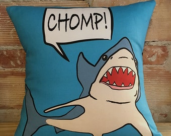 Blue Shark Print Pillow Case