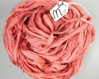 Sari Silk Ribbon, CHIFFON sari ribbon, Silk Chiffon ribbon, Coral sari ribbon, tassel supply, knitting supply, weaving supply, rag ribbon