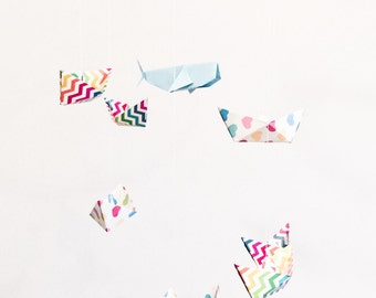 Nursery mobile, origami boats and origami whale, baby mobile, hanging decoration, paper mobile, rainbow, bright, nautical, custom made.