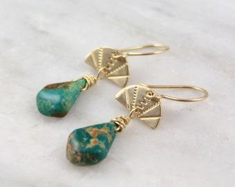 Stamped Gold Fan and Turquoise Earrings
