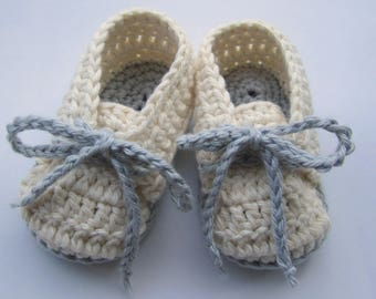 Baby Booties, Baby Sneakers, Cotton Baby Shoes, Crib Shoes, Crochet Slippers // Sizes Newborn - 12 months // You Choose Size and Colors