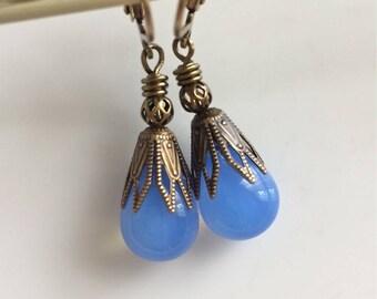 Sky Blue Glass Earrings  Czech Glass Teardrops  Brass Leverbacks