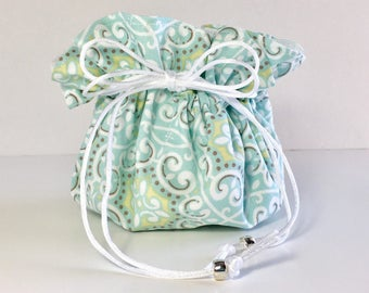 Aqua and white Travel jewelry pouch - Personalized jewelry bag - Monogrammed jewelry bag - Gift for her - Pouch bag - Drawstring bag