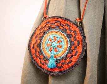 Crocheted Mandala bag, round purse, crocheted cross body round bag, handmade turquoise and orange wheel Mochila style bag