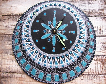 Modern round wooden wall clock turquoise silver Elegant clock  3D effect anniversary gift Wall clock in living room Wall clock for bedroom