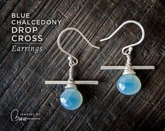 Teardrop Gemstone Earrings | Blue Chalcedony Drop Cross Earrings | Brushed Satin Sterling Silver Earrings | Briolette Earrings Blue Earrings