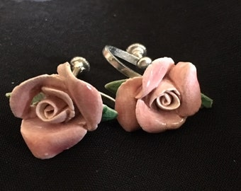 Hand Crafted Pink Rose Earrings with screw backs AS IS, Free Shipping