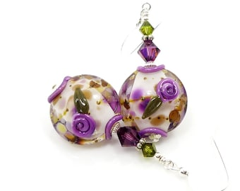Purple Earrings, Floral Earrings, Lampwork Earrings, Glass Earrings, Glass Bead Earrings, Colorful Earrings, Flower Earrings, Unique Earring