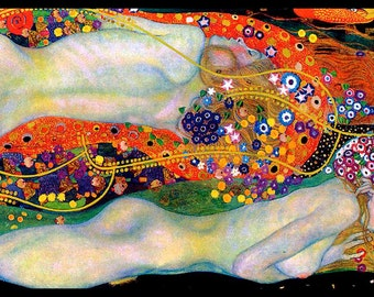 Water Serpents II -  by Gustav Klimt  - Giclee Art Print - Klimt Nudes Poster - Art Nouveau Print - Wall Art