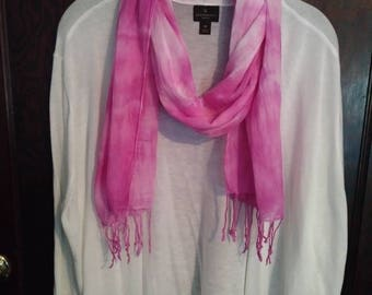 """Hand Tie Dyed Cotton Scarf in Pink Ripple 70"""""""