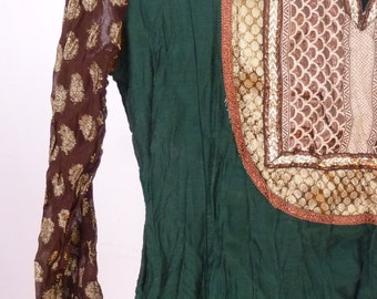 Vintage Hippie Tunic 1980's Indian Gold Brocade Shirt 80's Emerald Green Bollywood Tunic Blouse Size Small