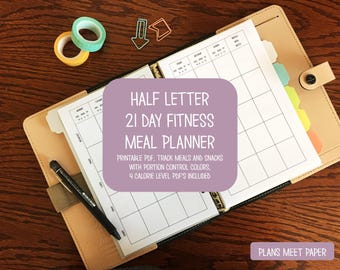 PRINTABLE Half Letter 21 Day Fitness Portion Control Meal Planner