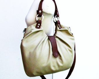 Taupe Leather bag satchel with pleats and tan accent 4 way bag shoulder tote cross body and backpack
