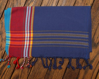 Decorative Kenyan Kikoy Scarf ~ Dark Blue/Red 00079