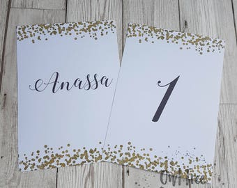 Personalised Wedding GOLD CONFETTI Table Names / Table Number Cards A5 on the day wedding stationery, gold glitter sparkle wedding reception