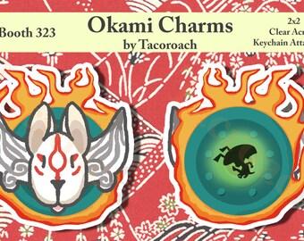 Okami Amaterasu - Clear Acrylic Keychain Charm