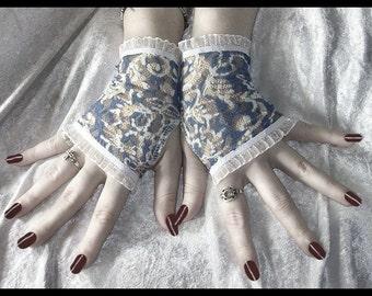 Blue Danube Lace Fingerless Gloves - Cornflower Blue White Damask Ruffle - Gothic Tribal Belly Dance Lolita Wedding Bridal Victorian Goth