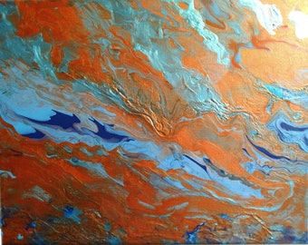 Poured acrylic,Flowing Blue and Bronze