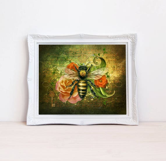 vintage style bumble bee art print