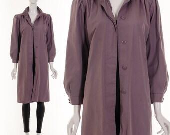 LAVENDER PURPLE MINIMALIST  Trench Coat Long Coat Trench Coat Classic Coat Trapeze Coat Princess Coat Wrap Coat Medium