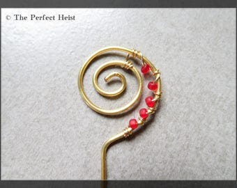 Orifice Hook, Gold, Red, Spinning Wheel, Fiber, Wool