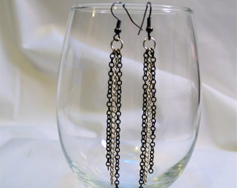 Black and silver dangly chain earrings